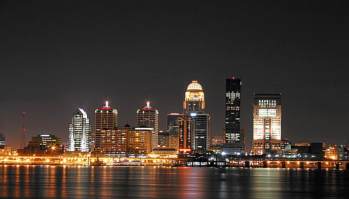 Downtown Louisville Kentucky Night Skyline